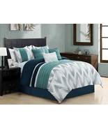 7 Striated Embroidery Chevron ZigZag Comforter Set Cal-King Navy Blue Te... - $86.94