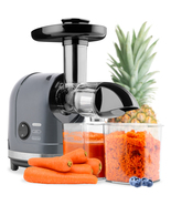 150W Horizontal Slow Masticating Juicer in Gray, Cold Press Extractor w/... - $159.99