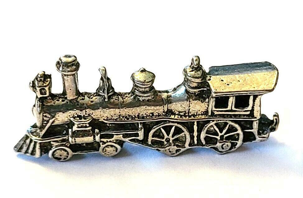 TRAIN ENGINE FIGURINE CAST WITH FINE PEWTER - Approx. 1 1/4 inch Long (T163)