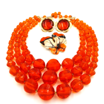 West Germany Vintage Necklace, Enamel Flower Pin and Sarah Coventry Earrings - $49.00