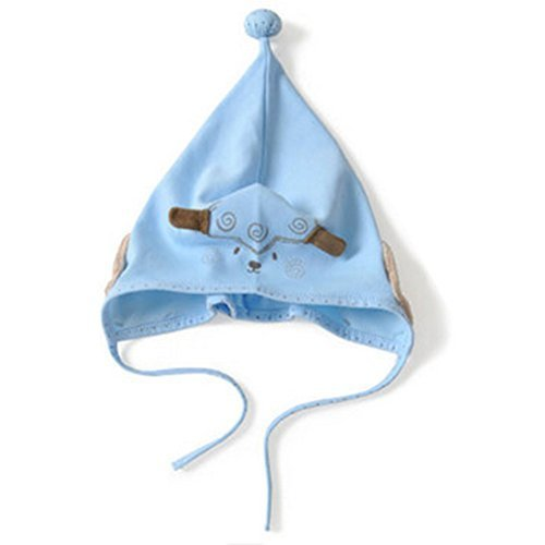 Baby Sheep Hat Toddler Soft Hat Infant Cotton Hat 0-24Months (Light Blue)