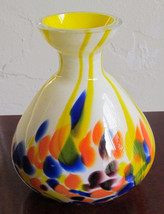 Murano Venetian Style Yellow Colored Bulbous Glass Mini Vase Display - $64.99