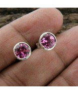 Delicate 4Ct Round Cut Red Ruby Solitaire Stud Earrings 14K White Gold F... - $101.99