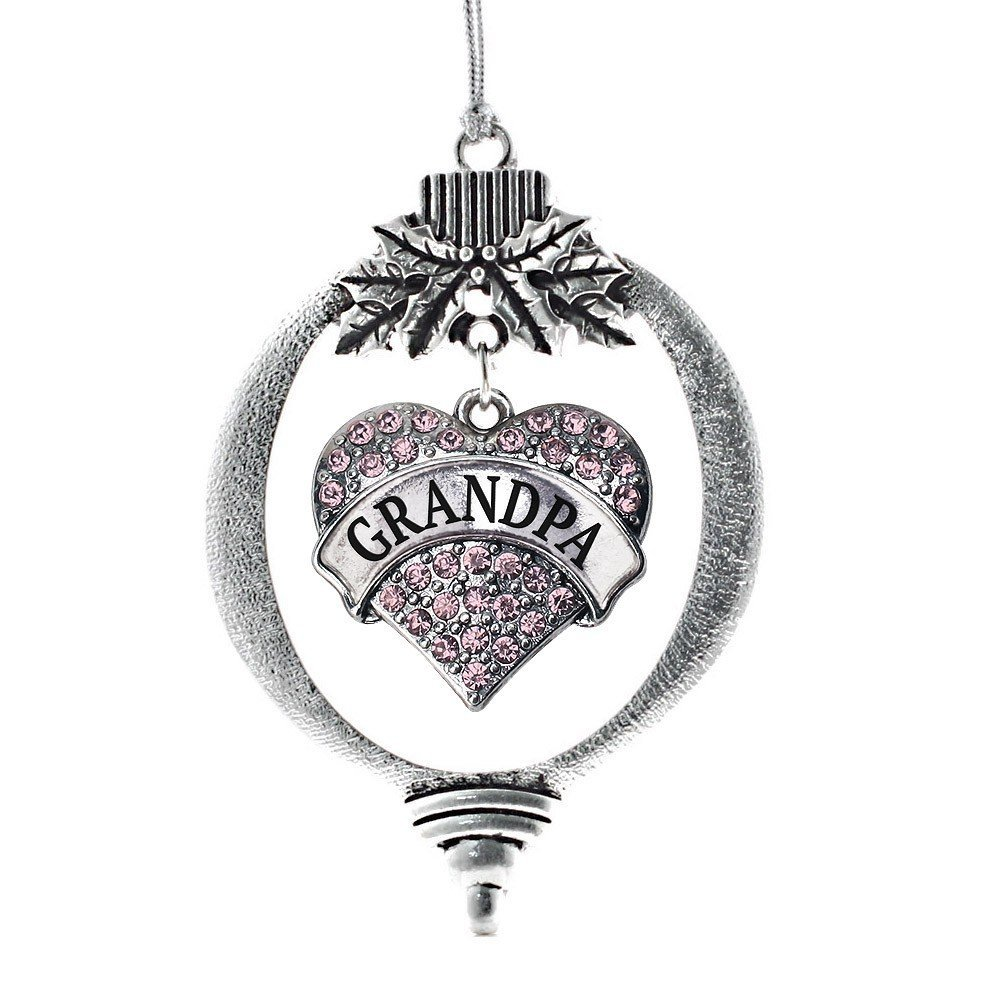 Primary image for Inspired Silver Grandpa Pink Pave Heart Holiday Ornament