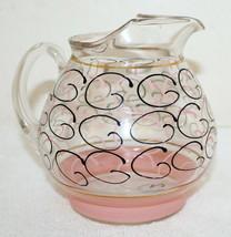 Vintage Clear w/ Pink & Black Design Water Juice Pitcher ~ Circa 1950's ... - $39.99