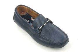 New Alfani Navy Tumbled Leather Bit Front Marcus Driver Loafers Shoes Sz 9 - $29.69