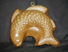 Old Vintage Copper Mold Classic Fish Wall Hanging Country Kitchen Tool D... - $36.62
