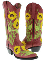 Womens Red Sunflower Embroidered Leather Fashion Cowgirl Boots Snip Toe - €81,58 EUR