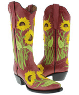 Womens Red Sunflower Embroidered Leather Fashion Cowgirl Boots Snip Toe - €74,50 EUR