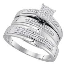 10k White Gold His Hers Round Diamond Cluster Matching Bridal Wedding Ring Set - $598.00