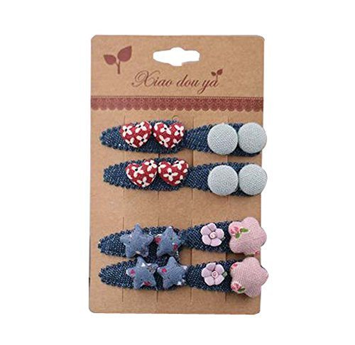 8 pieces Baby Girls Edge Bangs Hair Clips Barrettes Hair Pins, NO.12