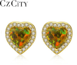 CZCITY New Elegant Heart Design Opal Stud Earrings for Women Sparkling C... - $35.15