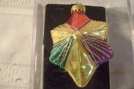 Hand Crafted Six Sided Star Glass Ornament - $10.00