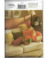 Vogue 8058 Decor Pillows Different Sizes and Shapes Sewing Pattern Facto... - $15.00