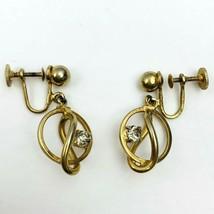 Alice Modernist Drop Dangle Rhinestone Screw Back Earrings Vintage Gold ... - $12.81