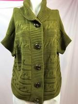 Talbots Woman Petites Green Cable Knit Short Sleeve Shawl Collar Cardigan Sz 2XP - $23.74