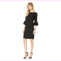 Lauren Ralph Lauren Womens 3/4 Sleeves With Ruffled Trim Crepe Bell-Slee... - $69.06