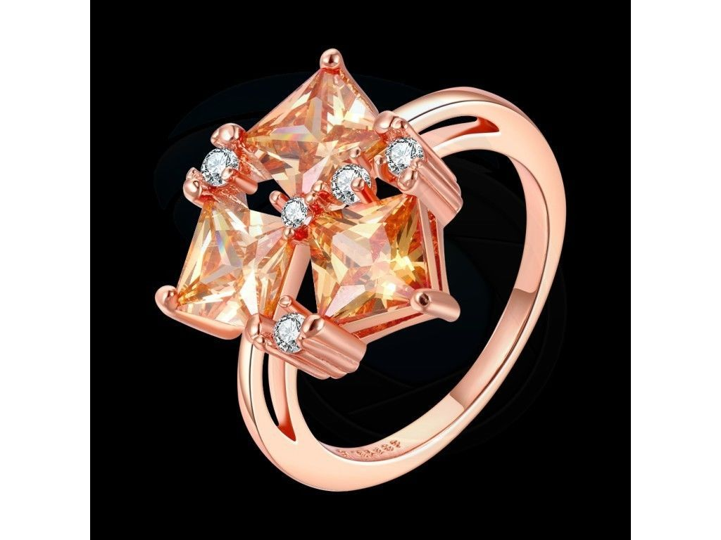 Size 8 Brass 18K Rose Gold Plated Zircon Crystal Lady Womens Girl Ring