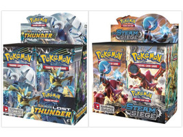 Pokemon TCG Sun & Moon Lost Thunder + Steam Siege Booster Box Bundle - $209.99