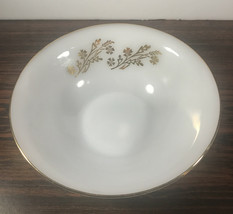 """Federal Glass Meadow Gold Round Vegetable Bowl 8 1/2"""" Flower Wheat Gold Trim - $12.86"""