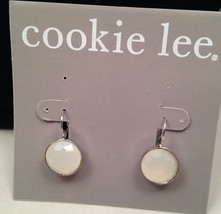 New Cookie Lee White Crystal Drop Earrings - $10.73