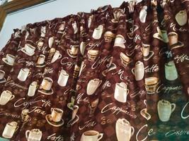 "Coffee Cup Mocha Curtains Panels Tiers Window Treatment 43""W x 24""L - $24.75"