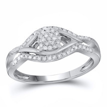 14kt White Gold Womens Round Diamond Cluster Ring 1/5 Cttw - £255.37 GBP