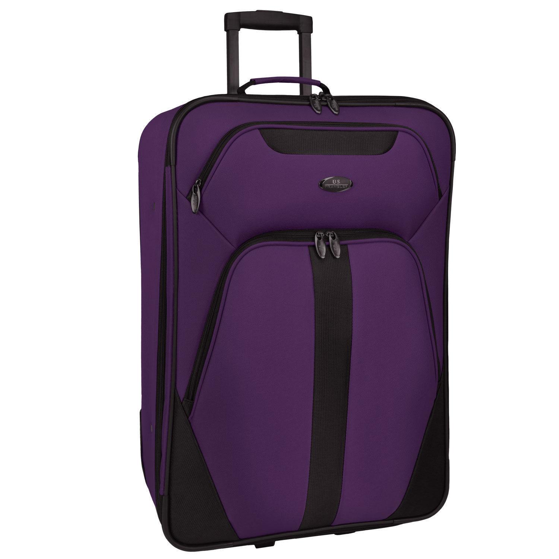 US Traveler Oakton 4pc Purple Light Rolling Luggage Suitcase Duffel Tote Bag Set