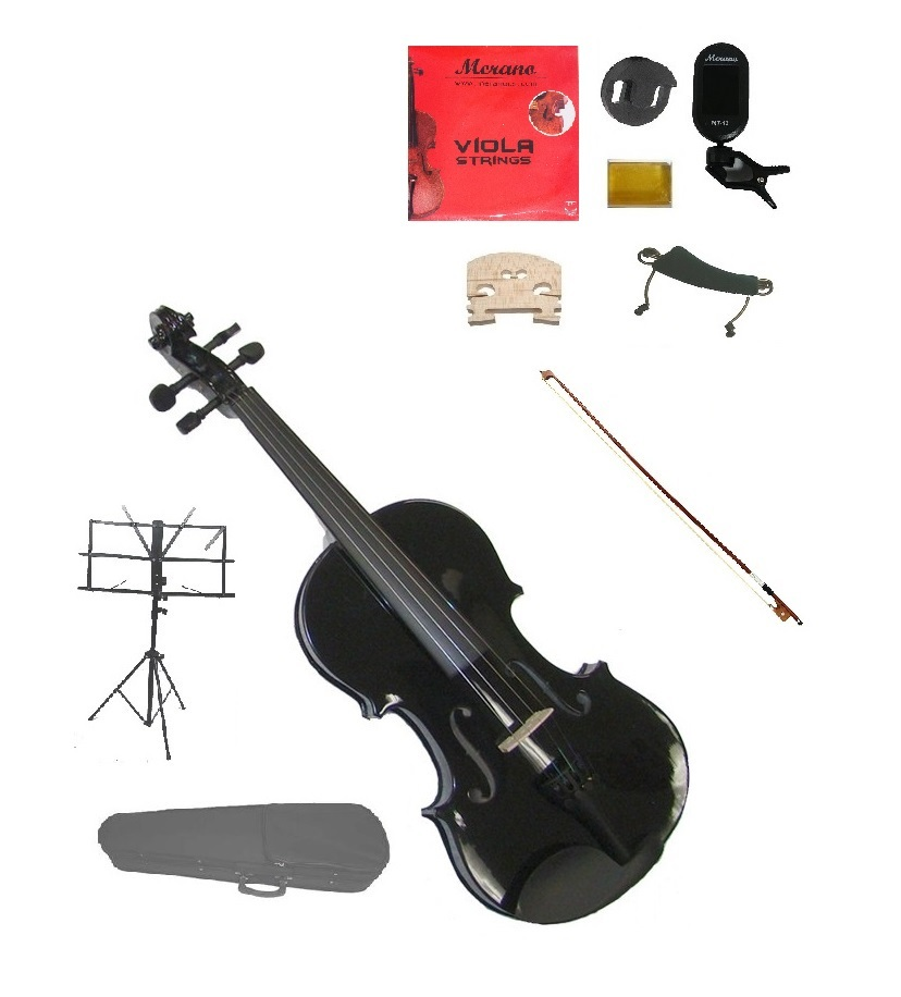"""Merano Acoustic 14"""" BLACK Student Viola,Case,Bow & Much More"""