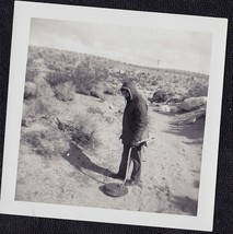 Old Vintage Antique Photograph Man Using Metal Detector In Sand - $6.93