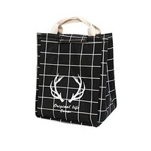 Canvas Reusable Lunch Box Portable Lunch Bag Tote Bag, Black, Antlers - $12.90