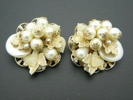 Faux Pearl Cluster AB Rhinestone Large Gold Tone Clip Earrings Vintage - $19.79