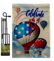 July 4th Hot Air Balloon Burlap - Impressions Decorative Metal Garden Po... - $33.97
