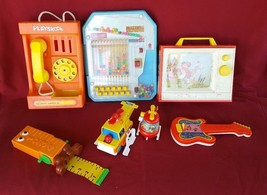 Lot of 7 Vintage FISHER PRICE, PLAYSKOOL, QUERCETTI Toys - 1980's Games - $18.69