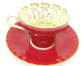 Aynsley Bone China Maroon Gold Floral Interior Corset Waist Tea Cup Sauc... - $35.77