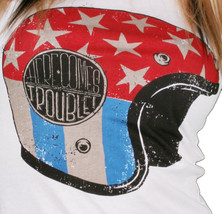 Iron Fist Damen Weiß Hier Kommt Ärger Star Streifen Motorrad Helm T-Shirt image 2