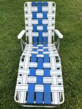 Vintage Classic Aluminum Webbed Folding Adjustable Lounge Lawn Chair Chaise - $41.57