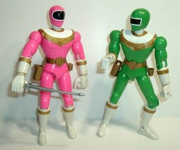 "Vintage 8"" 1996 Bandai Power Ranger Action Figures Green & Pink w/Sword - $24.95"