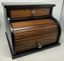 Amish Crafted Two Tone Wooden Rolltop / Roll Top Bread Box With Drawer -... - $219.99