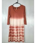 Monoreno Dress Size Large Orange White 3/4 Sleeves Ombre Tie  Dye Swing ... - $24.97