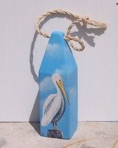 Pelican handcrafted wooden Buoy art nautical decor marine life beach tor... - $46.00