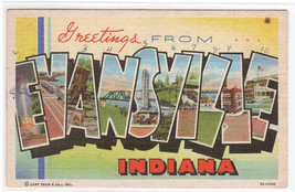 Evansville Indiana Large Letter Linen 1943 postcard - $4.46