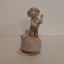 """Vintage Porcelain Spinning Music Box Dog with Boy Playing """"You Light Up ... - $13.66"""