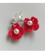 Crochet Flower Earrings / Crochet Earrings / Handmade Flower  Earrings - $10.00