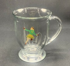 Vintage Anchor Hocking Winter Sports Ice Skater Ice Skating Girl Glass Mug - $12.59