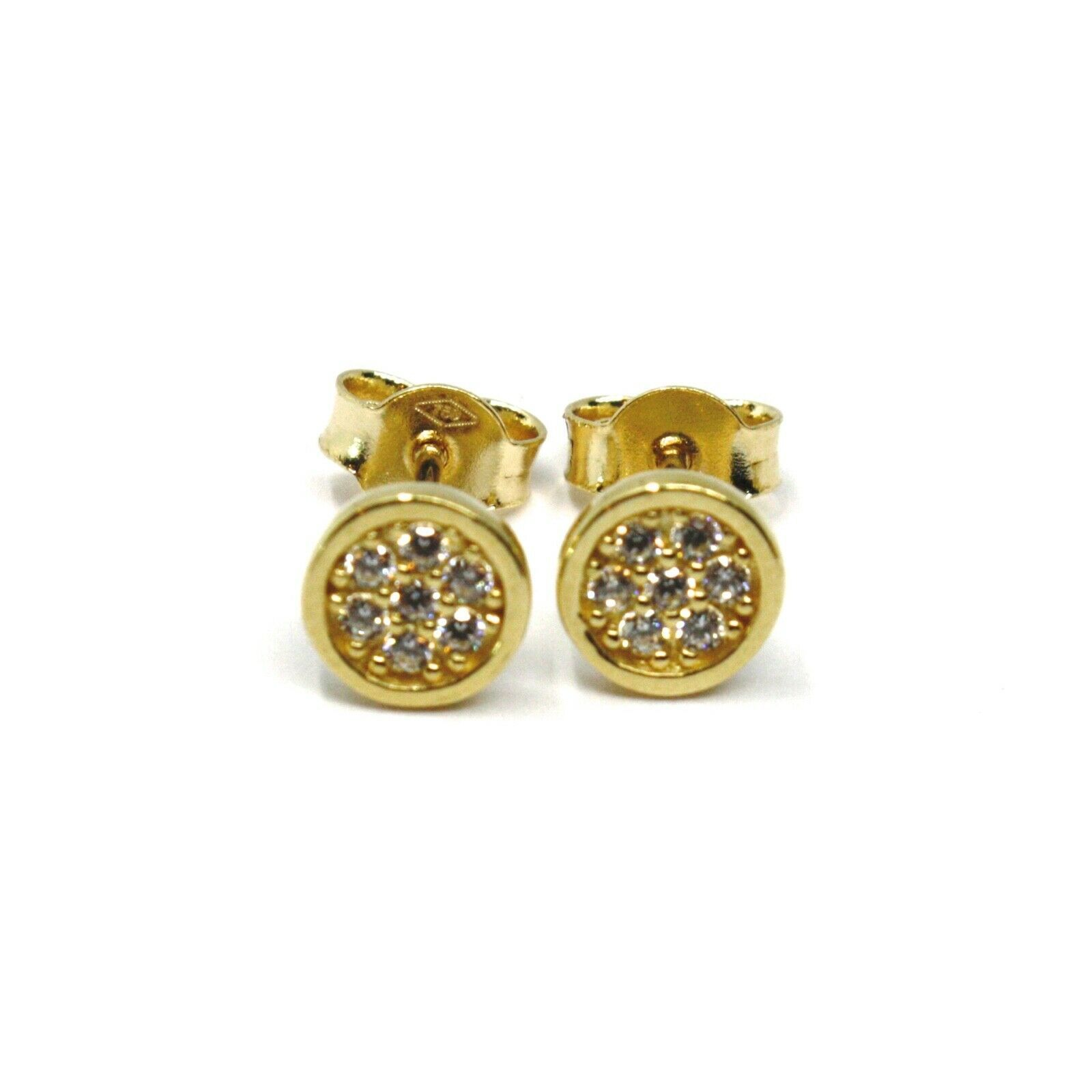 18K YELLOW GOLD MINI BUTTON EARRINGS WITH CUBIC ZIRCONIA, DISC FLOWER, 6 MM