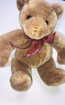 "Commonwealth Toy Teddy Bear 10"" Stuffed Animal 2002 Beige Plush Red Bow - $14.79"