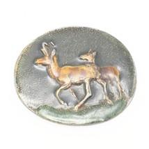Belt Buckle Enamel Brass Deer Tiffany Studio New York Vtg - $34.64