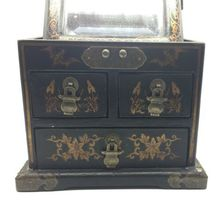 Vintage Wooden Chinese Asian Jewelry Box Chest w/ Mirror Apothecary image 3