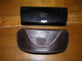 Lot of 2 Brown Leather Fossil and Black Saks Fifith Avenue Hard Case Glasses  - $7.69